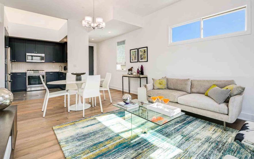 West Grove Pasadena condominiums, 125 Hurlbut Street - Living room and kitchen