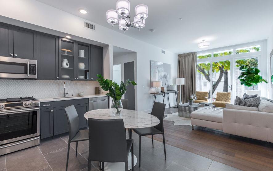West Grove Pasadena condominiums, 125 Hurlbut Street - kitchen and living room
